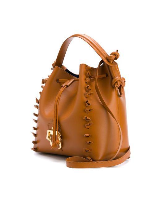Knot-Trimmed Cross Body Bucket Bag Paula Cademartori                                                                                                              коричневый цвет