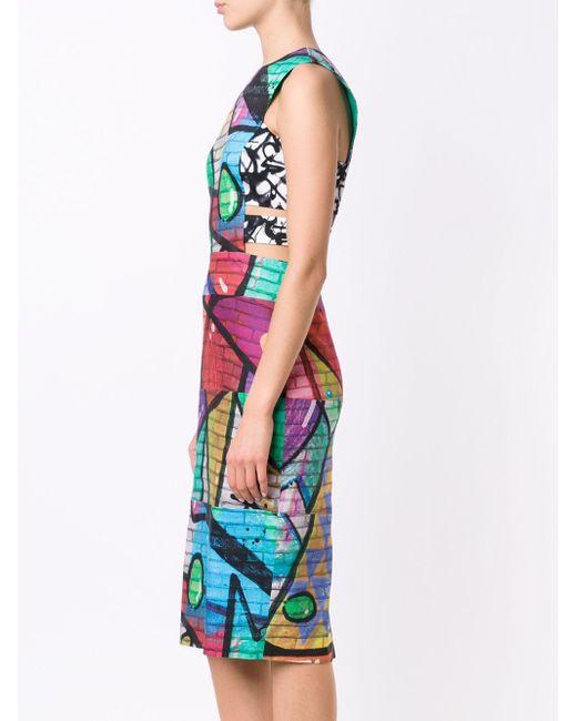 Grafitti Print Dress Nicole Miller                                                                                                              чёрный цвет
