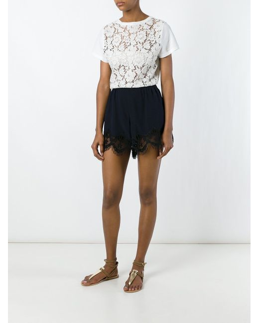 Lace Hem Mini Shorts Chloe                                                                                                              синий цвет