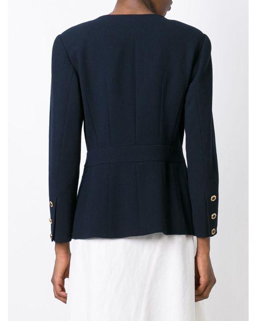 Приталенный Пиджак Chanel Vintage                                                                                                              синий цвет