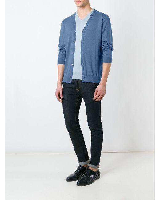 V-Neck Cardigan John Smedley                                                                                                              синий цвет