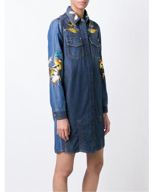 Джинсовое Платье С Вышивкой Roberto Cavalli                                                                                                              синий цвет