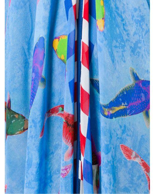 Длинное Драпированное Платье С Принтом Рыб Wunderkind                                                                                                              синий цвет