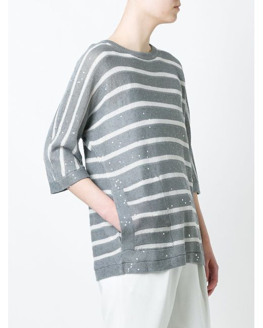 Sequin Detail Striped Relaxed Fit Knitted Top Brunello Cucinelli                                                                                                              серый цвет