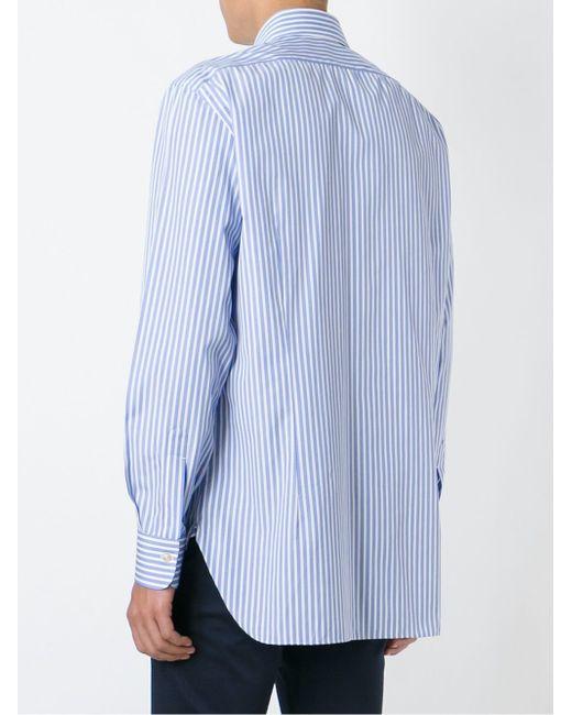 Полосатая Рубашка Kiton                                                                                                              синий цвет