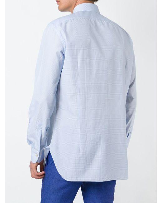 Рубашка В Клетку Kiton                                                                                                              синий цвет