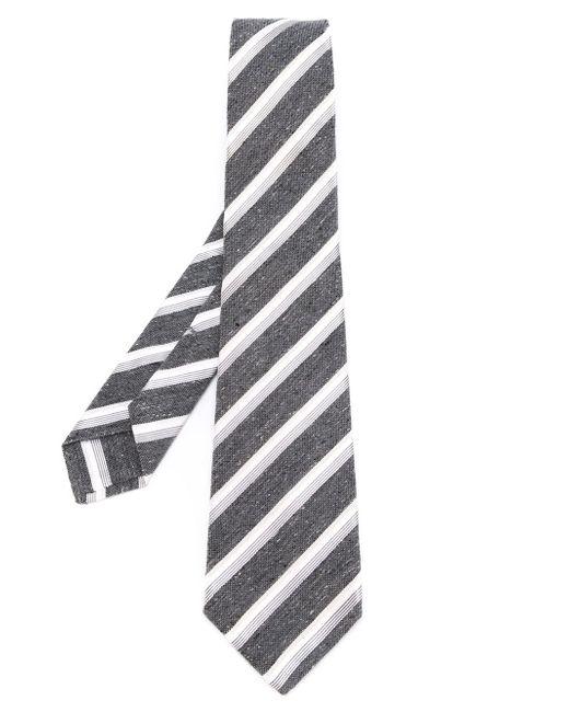 Diagonal Stripes Tie Kiton                                                                                                              серый цвет