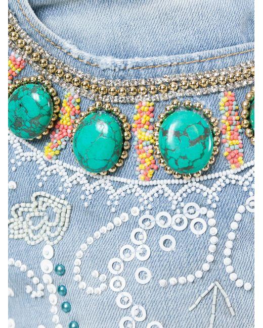 Декорированные Джинсовые Шорты Amen                                                                                                              синий цвет
