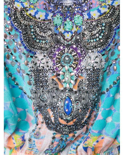 Printed Off Shoulder Playsuit Camilla                                                                                                              синий цвет