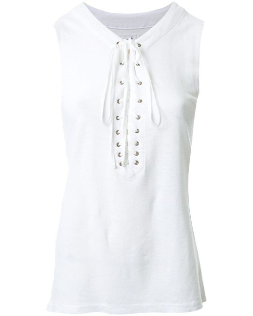 Lateral Slits Lace-Up Tank Fabiane Roux                                                                                                              белый цвет
