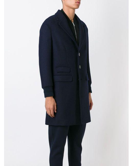 Однобортное Пальто Neil Barrett                                                                                                              синий цвет