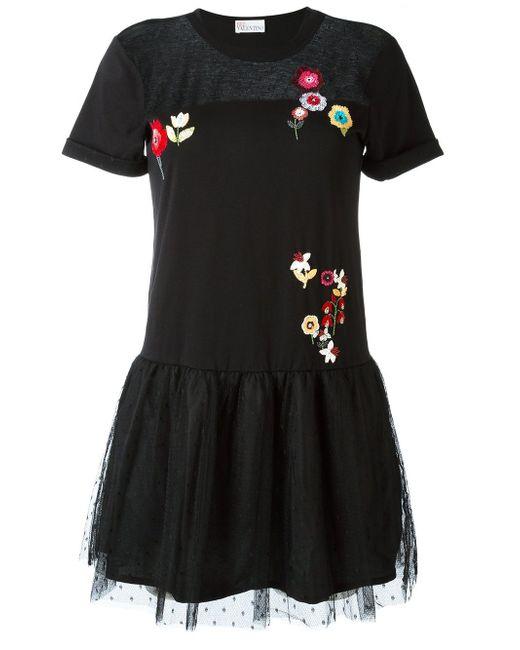Расклешенное Платье С Цветочной Вышивкой Red Valentino                                                                                                              чёрный цвет