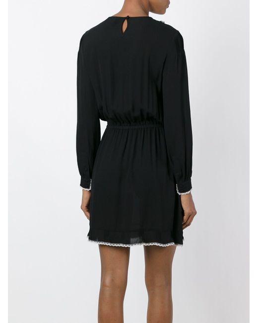 Платье С Контрастными Рюшами Red Valentino                                                                                                              чёрный цвет