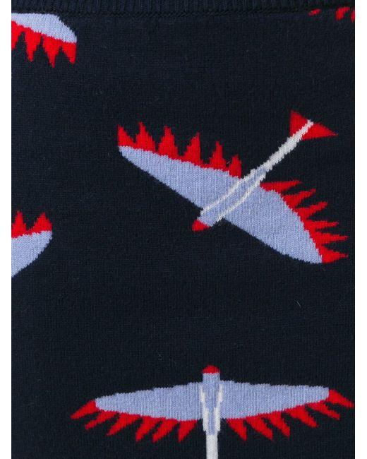 Юбка С Принтом-Интарсией Птиц Maison Kitsune                                                                                                              синий цвет