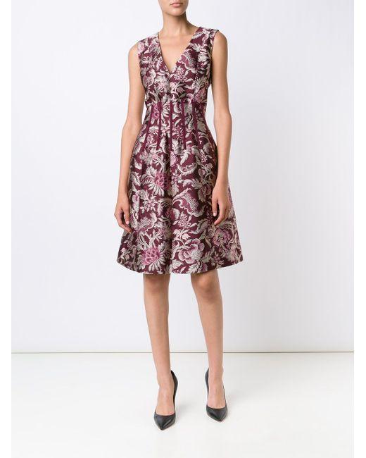Pattern Flared Dress Oscar de la Renta                                                                                                              красный цвет