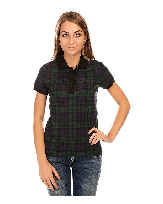 Поло Женское Black Watch Pique Shirt Blue/Green Fred Perry                                                                                                              синий цвет