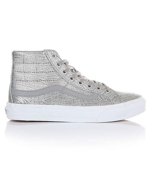 Кеды Кроссовки Высокие Sk8-Hi Slim Foil Metallic Vans                                                                                                              серый цвет