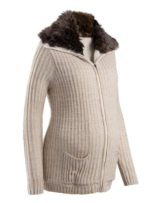 Мода Для Беременных Кардиган С Искусственным Мехом bonprix                                                                                                              Антрацитовый Меланж цвет