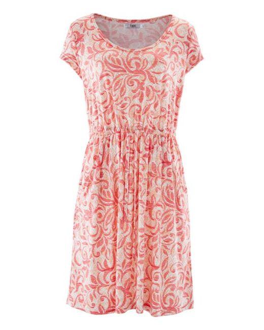 Трикотажное Платье С Коротким Рукавом bonprix                                                                                                              Абрикосовый, Нежный Ярко-Розов цвет