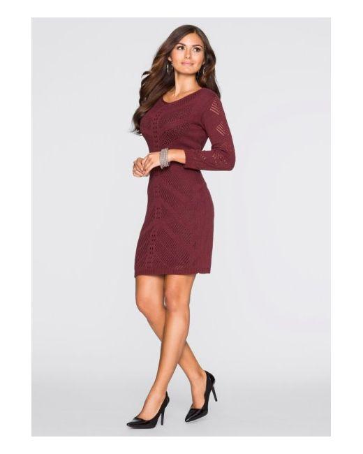 Вязаное Платье С Ажурным Узором bonprix                                                                                                              бежевый цвет