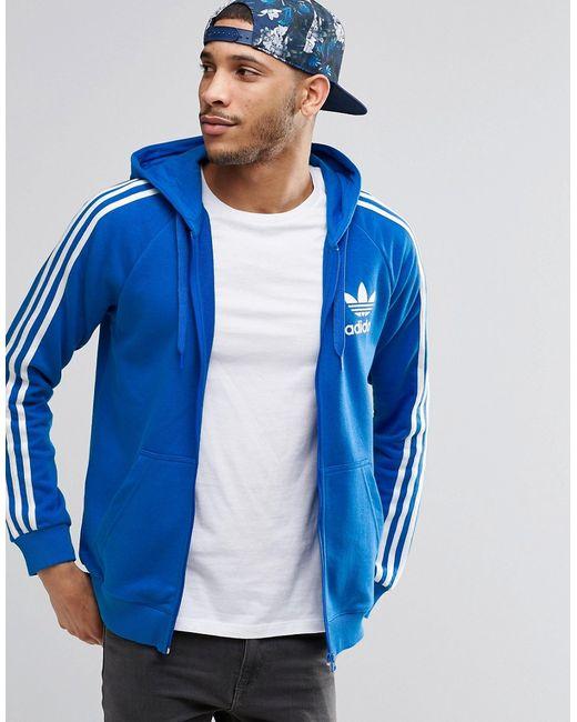 Trefoil Zip Hoodie Ay7787 Синий adidas Originals                                                                                                              None цвет