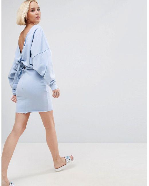 ae8c5ff8780 Женское Синее Трикотажное Платье С Бантом На Спине Asos 5855934