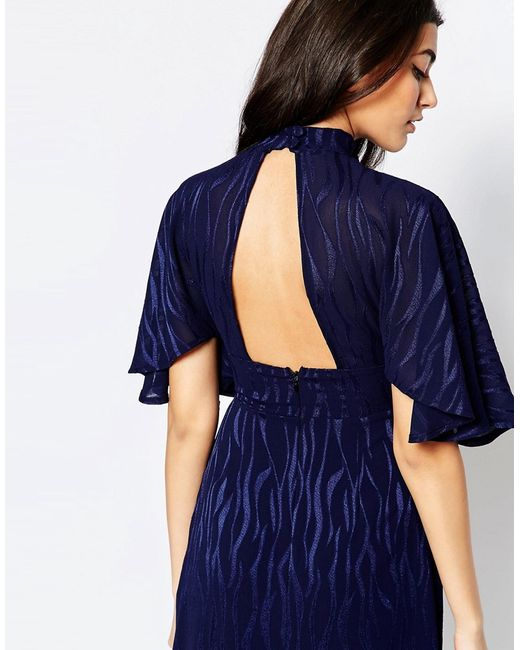 Платье Макси С Рукавами-Кимоно И Выжженным Принтом Liquorish                                                                                                              синий цвет