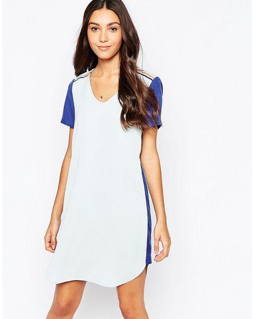 Цельнокройное Платье В Стиле Колор Блок Vila                                                                                                              синий цвет