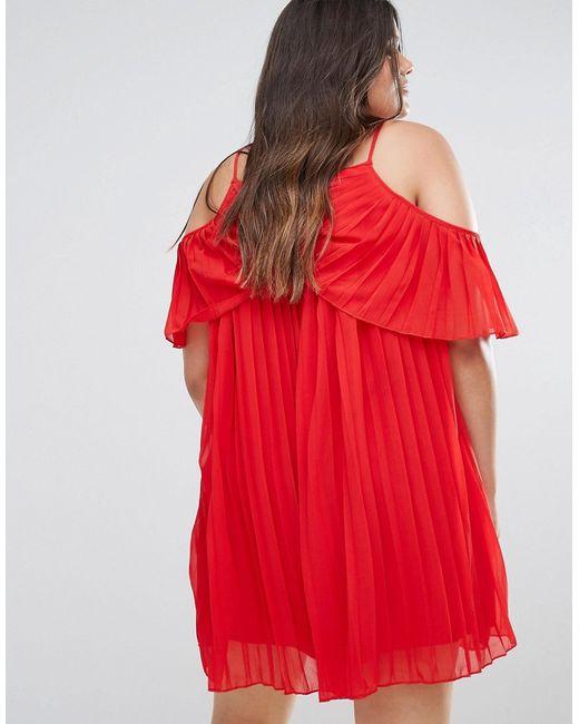 Плиссированное Платье Мини С Открытыми Плечами Boohoo Plus                                                                                                              красный цвет