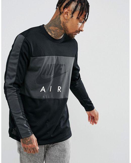 61f434ff Мужские Чёрные Свитшот С Круглым Вырезом Air 884910-010 Nike 6165524
