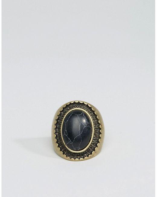 Oversized Signet With Black Stone Asos                                                                                                              золотой цвет