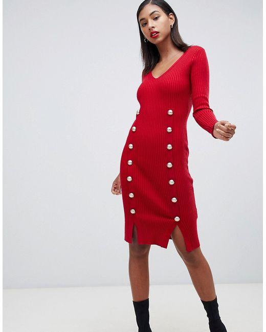 8f689df06a3 Женское Красное Трикотажное Обтягивающее Платье С Пуговицами Morgan ...
