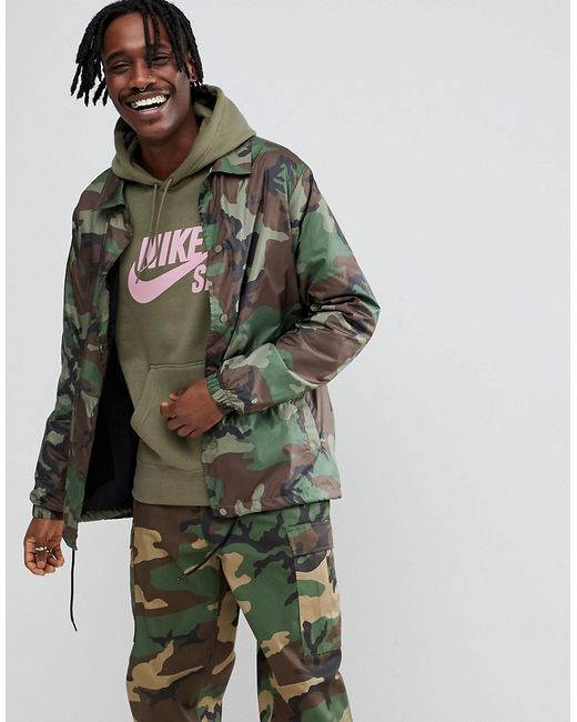 e02042a7 Зеленая Спортивная Куртка С Камуфляжным Принтом Ah5505-222 Nike SB зелёный  ...