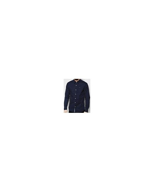Эластичная Рубашка Узкого Кроя В Горошек Темно-Синий Hilfiger Denim                                                                                                              синий цвет