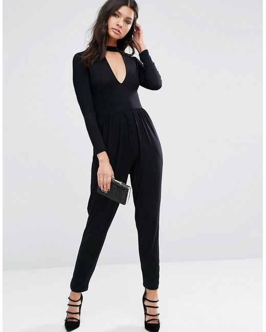 Halloween Plunge Neck Jersey Jumpsuit With Long Asos                                                                                                              чёрный цвет