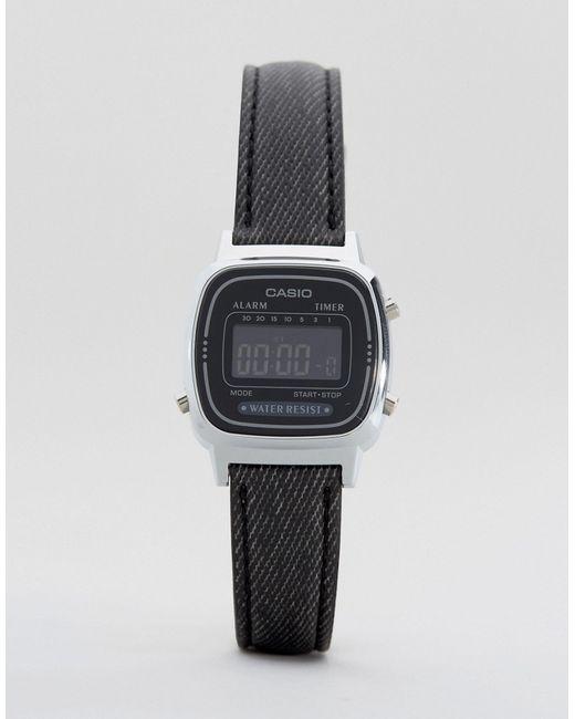 Часы С Черным Кожаным Ремешком La670wel-1bef Черный Casio                                                                                                              чёрный цвет