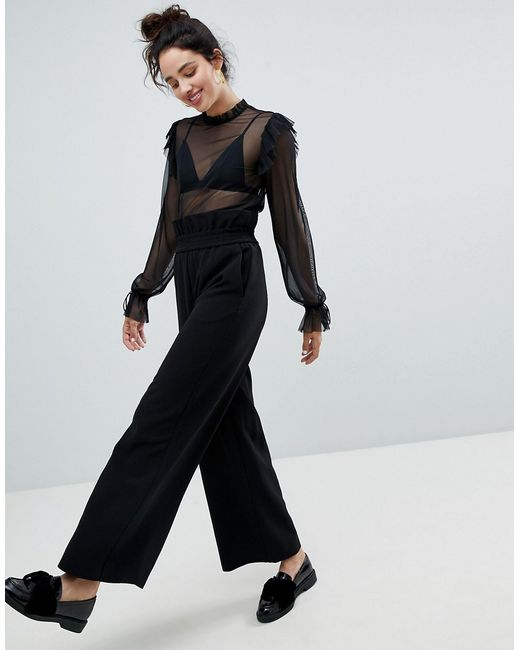 черные брюки с завышенной талией 1