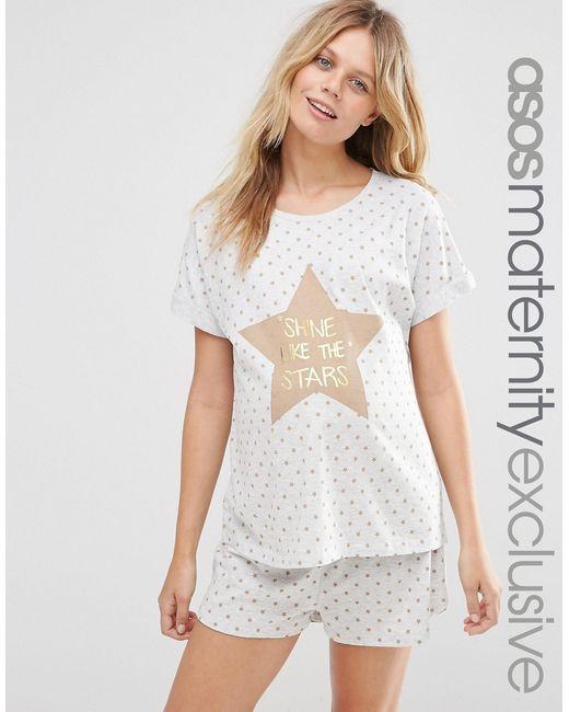 Пижама Для Беременных Shine Like The Stars ASOS Maternity                                                                                                              Oatmeal цвет