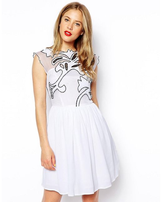 Платье Для Выпускного Gothic Черно-Белый Asos                                                                                                              белый цвет