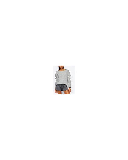 Пуловер С Разрезами На Плечах Серовато-Стальной Blue Life                                                                                                              Серовато-Стальной цвет