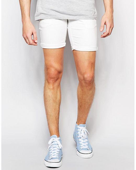 Стретчевые Джинсовые Шорты Белый !Solid                                                                                                              белый цвет
