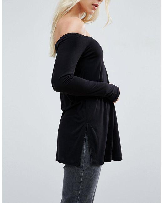 Свободный Топ С Открытыми Плечами И Разрезами ASOS PETITE                                                                                                              чёрный цвет
