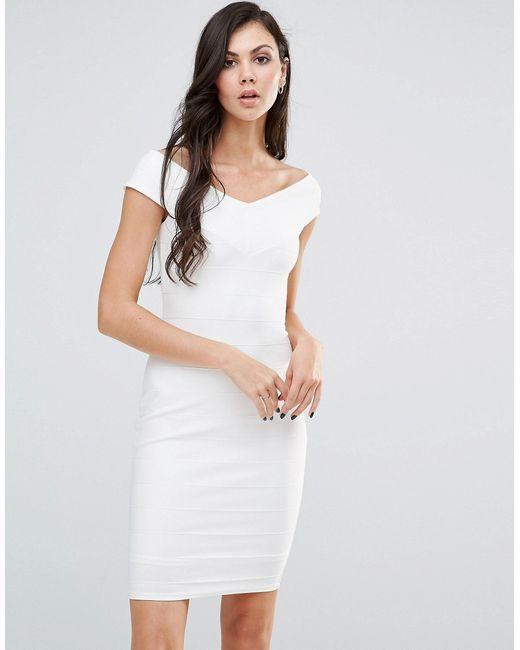 Платье-Футляр С Широким Вырезом Белый Lipstick Boutique                                                                                                              белый цвет