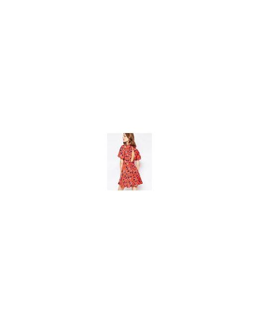 Чайное Платье С Цветочным Принтом Красный ASOS PETITE                                                                                                              красный цвет