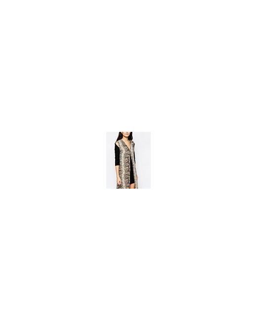 Цельнокройное Платье С Длинной Накладкой Со Змеиным Liquorish                                                                                                              чёрный цвет