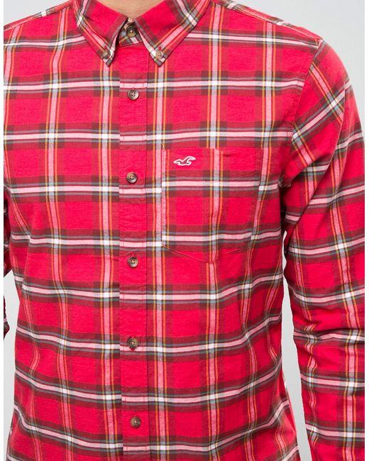 Оксфордская Рубашка Слим В Красную Клетку Тартан Hollister                                                                                                              None цвет