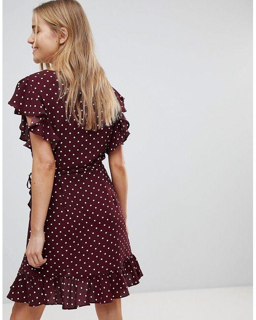 2106b8cb7a6 Женское Красное Платье В Горошек С Запахом И Оборками New Look 6909063