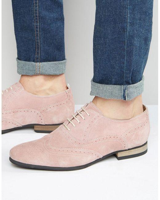 Розовые Замшевые Броги С Контрастной Подошвой Розовый Asos                                                                                                              розовый цвет