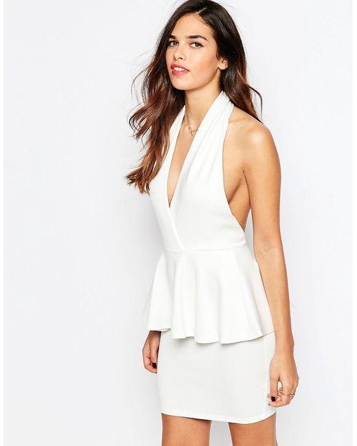 Платье С Глубоким V-Образным Вырезом И Баской AX Paris                                                                                                              Кремовый цвет