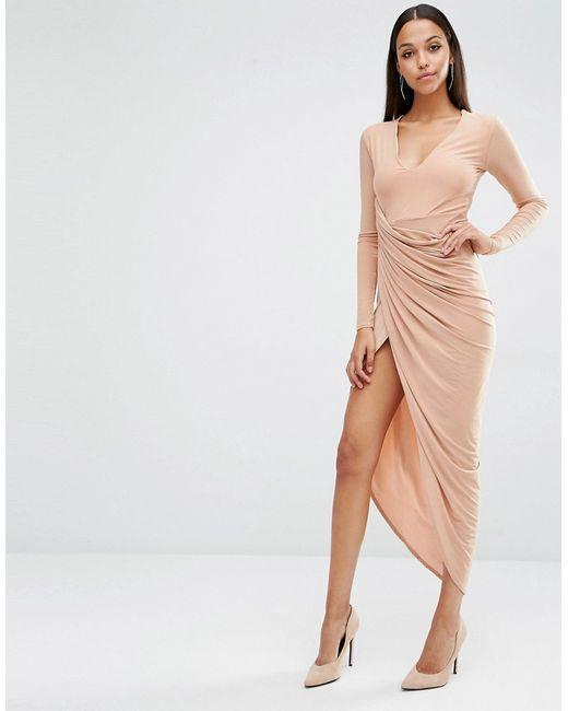 Платье Макси С Глубоким Вырезом И Запахом Club L                                                                                                              Macaroon Caramel цвет